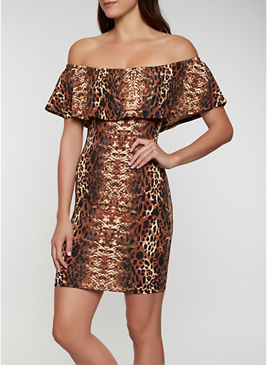 Ruffled Off the Shoulder Snake Print Dress,BROWN,large