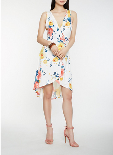 Floral Faux Wrap High Low Dress,IVORY,large