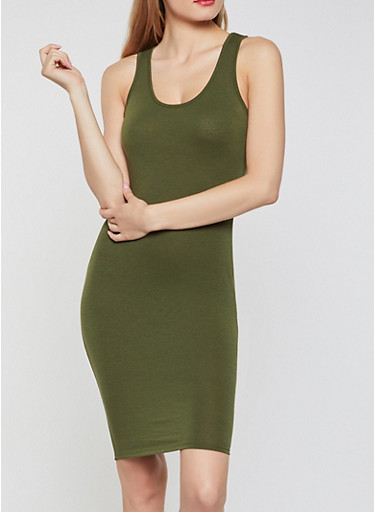Solid Tank Midi Dress,OLIVE,large