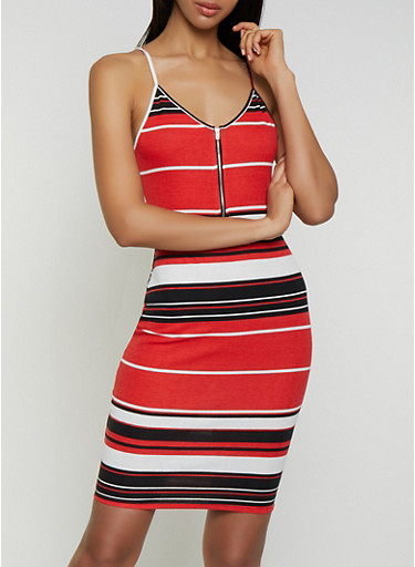 Striped Zip Neck Bodycon Dress,RED,large