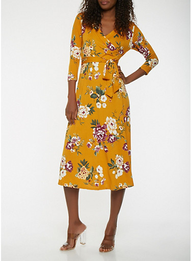 Printed Faux Wrap Dress,MUSTARD,large