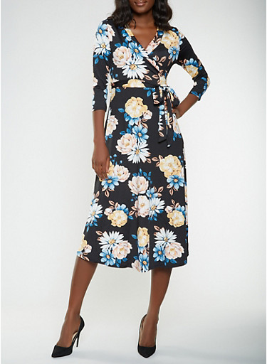 Floral Faux Wrap Midi Dress,BLACK,large