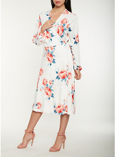 Floral Long Sleeve Wrap Midi Dress,WHITE/RED,large
