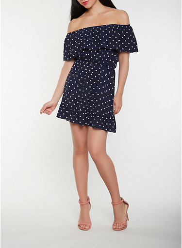 Polka Dot Off the Shoulder Skater Dress,NAVY,large