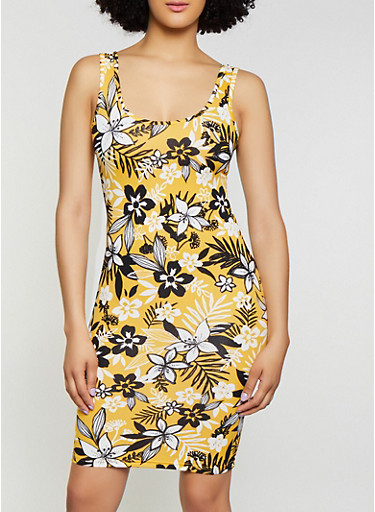 Floral Leaf Bodycon Tank Dress,GOLD,large