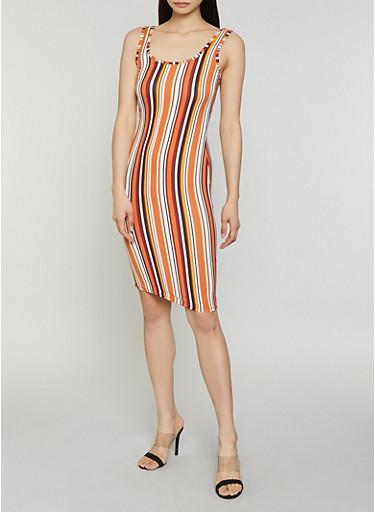 Vertical Stripe Tank Dress,RUST,large