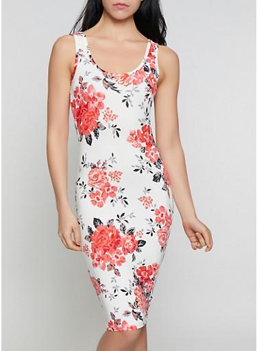 Floral Bodycon Midi Tank Dress,WHITE,large