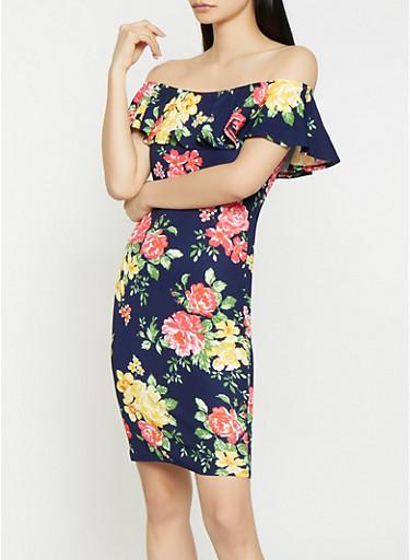 Floral Off the Shoulder Textured Knit Dress,NAVY,large