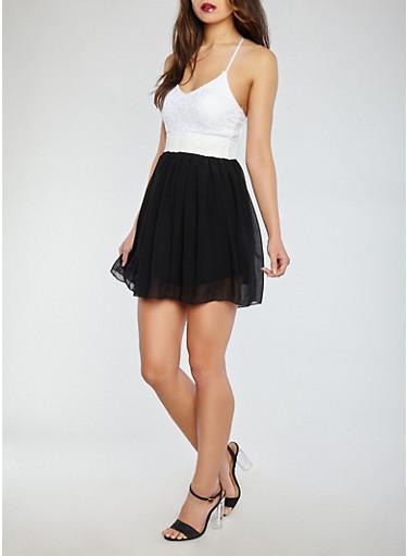 Lace Top Chiffon Dress,WHT-BLK,large