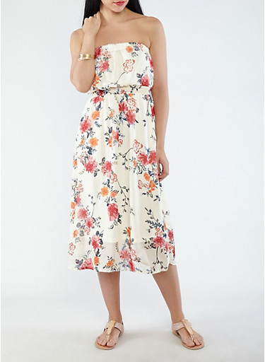 Printed Chiffon Tube Dress,IVORY,large