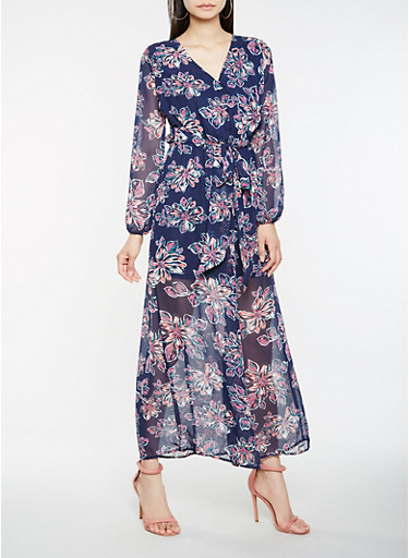 Sheer Floral Faux Wrap Maxi Dress | Tuggl