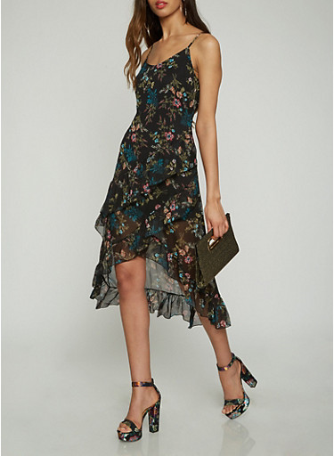 Printed Asymmetrical Slip Dress | Tuggl