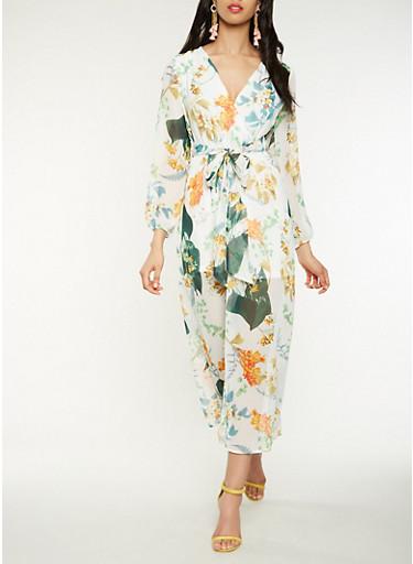 Floral Faux Wrap Maxi Dress,IVORY,large