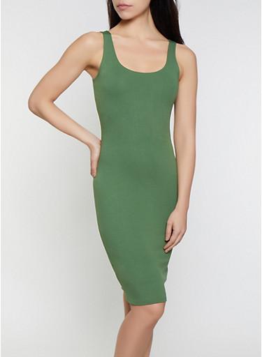Midi Ponte Tank Dress,OLIVE,large