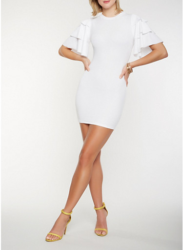 Tiered Sleeve Mini Dress,WHITE,large