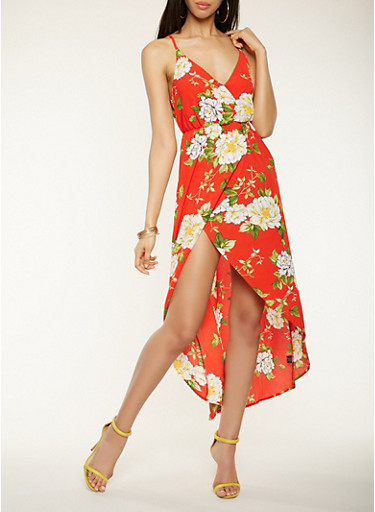 Floral Faux Wrap High Low Dress,RED,large