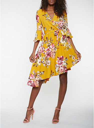 Floral Faux Wrap Bell Sleeve Dress,MUSTARD,large