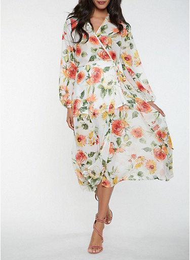 Floral Long Sleeve Wrap Maxi Dress,IVORY,large