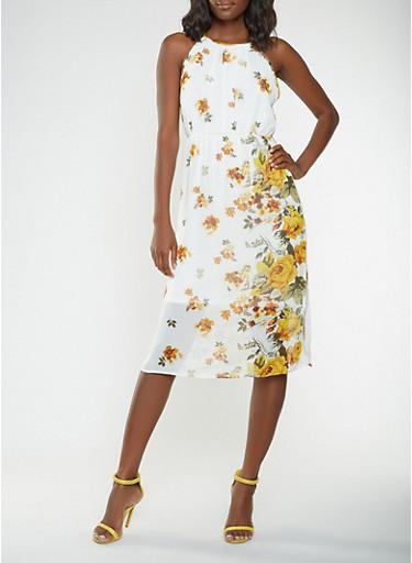 Printed Midi Dress,IVORY,large