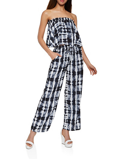 Ruffle Tie Dye Tube Top and Pants Set,BLACK,large