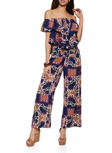 Printed Off the Shoulder Top and Pants Set,NAVY,large