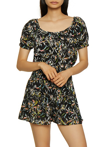 Floral Button Front Top and Shorts Set,BLACK,large