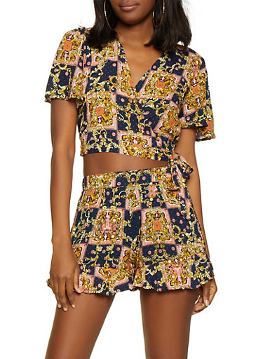 Printed Wrap Crop Top and Shorts,NAVY,large