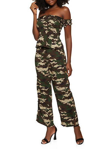 Camo Off the Shoulder Top and Button Side Pants,OLIVE,large