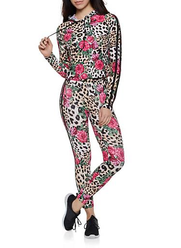 Floral Animal Print Hooded Top and Leggings,BROWN,large