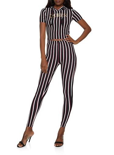 Striped Foil Queen Hooded Top and Leggings Set,BLACK/WHITE,large