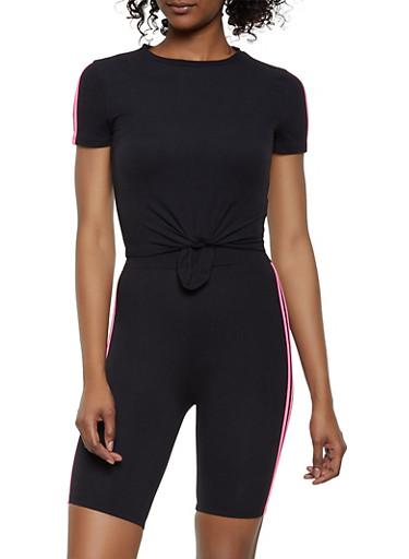 Varsity Stripe Tee and Bike Shorts,BLACK,large