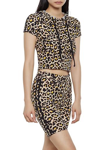 Cheetah Print Hooded Top and Bike Shorts Set,BLACK,large