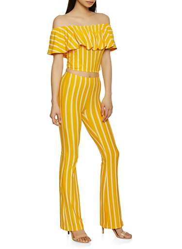 Off the Shoulder Striped Top and Flared Pants Set,MUSTARD,large
