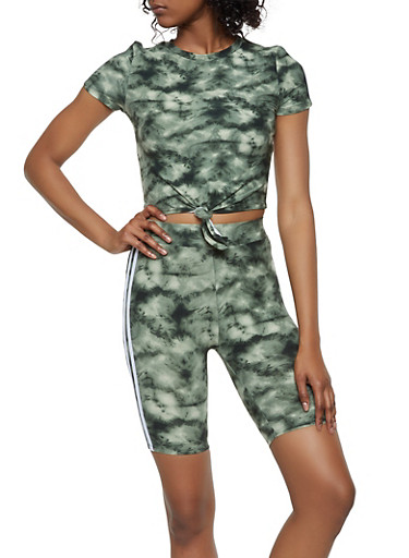 Tie Dye Tie Front Tee and Bike Shorts,OLIVE,large