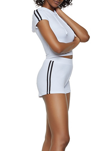 Hooded Tee and Shorts Set,WHT-BLK,large