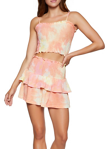 Tie Dye Smocked Crop Top and Tiered Mini Skirt Set,PEACH,large
