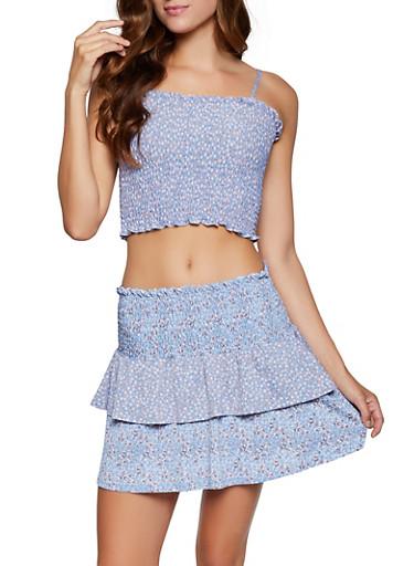 Floral Smocked Crop Top and Skirt Set,BLUE,large
