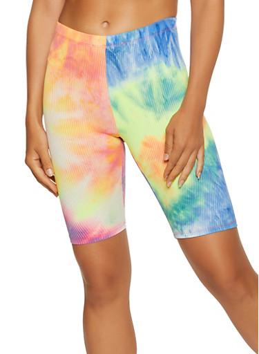 Tie Dye Rib Knit Biker Shorts,ORANGE,large