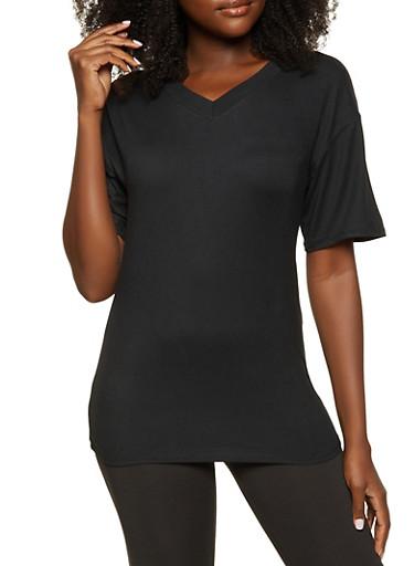 V Neck Soft Knit Tee,BLACK,large