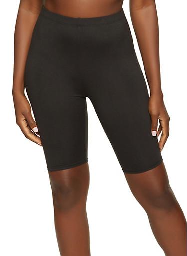 Black Bermuda Biker Shorts,BLACK,large