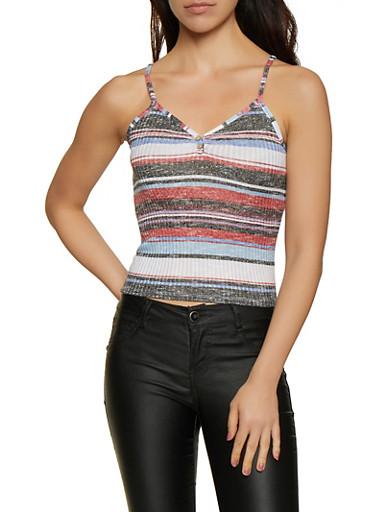 Rib Knit Striped Cami,BLACK,large