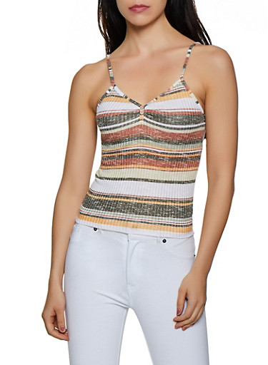 Striped Knit Cami,OLIVE,large