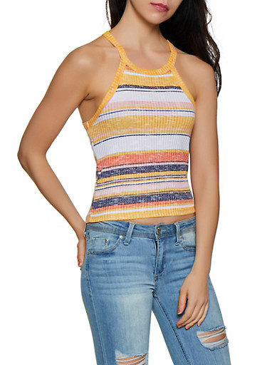 Striped Knit Scoop Neck Tank Top,GOLD,large