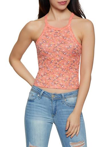 Floral Marled Rib Knit Tank Top,RUST,large