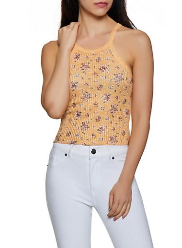 Flower Print Knit Tank Top,GOLD,large