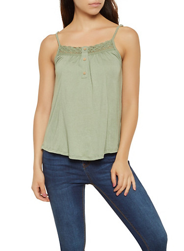 Ribbed Crochet Trim Cami,GREEN,large