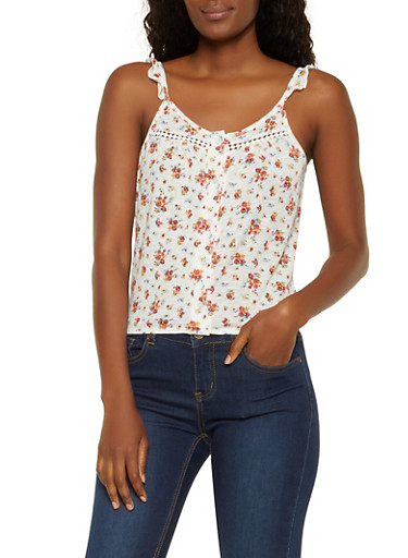 Floral  Tie Back Button Front Top,IVORY,large