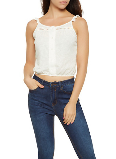 Tie Back Button Front Top,IVORY,large