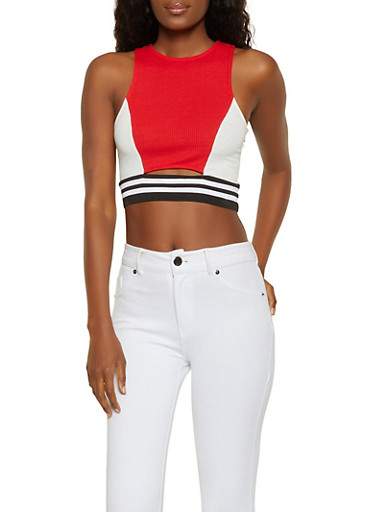 Color Block Cropped Tank Top,RED,large