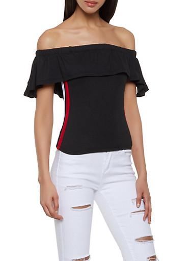 Side Stripe Off the Shoulder Top,BLACK,large
